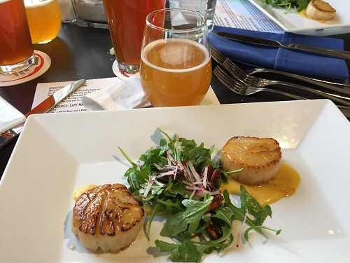 Cape May scallops with a chipolte vinaigarette and peppery arugala that marries well with our Cape May Saison