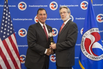 US Representative Frank LoBiondo accepts the Spirit of Enterprise Award from Bruce Josten, executive vice president for Government Affairs for the US Chamber of Commerce.