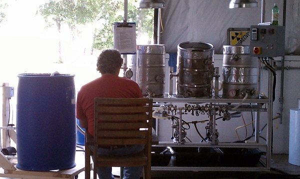 Mopman sitting at our original brewhouse turned keg washer turned parts for new keg washer.