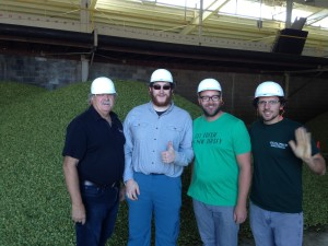 """There can be a large disparity in aroma between different lots of the same hop variety. One may offer lemongrass and ginger; another, more citronella or garlic. None is correct, it depends on what you want to achieve."" --Ryan, with Bob, Chris and the hop kiln operator."