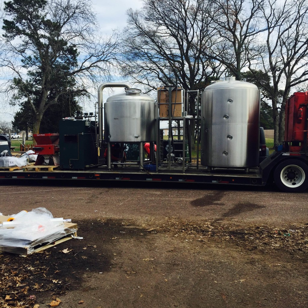 Our 15-bbl system, on its way to its new home, complete with brewhouse, boiler, auger and mill.